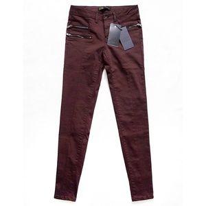 Slim Stretch Ankle Zip Moto Pants + Pockets Size 2